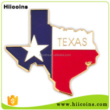 2016 New Products Custom Metal TEXAS State Shaped Lapel Pins Star lapel pin