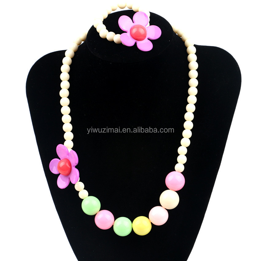 Kids Girls Jewelry Set With Flowers Children Candy Color Flower Acrylic Beaded Necklace Bracelet Set