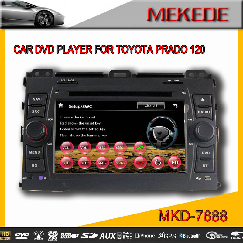 7'' CAR DVD Player for TOYOTA Prado 120 support 1080p with Bluetooth ipod radio 3G usb fm/am mp3/mp4