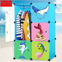DIY clear cartoon doors louver folding doors wardrobe with 1 hanger