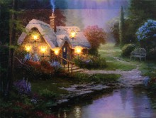 CE Certified 2015 lastest rural landscape painting with led light for holiday gift cheap china factory wholesale