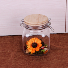 Hot selling Hermetic Glass Storage Jar transparent glass jar with wooden lid