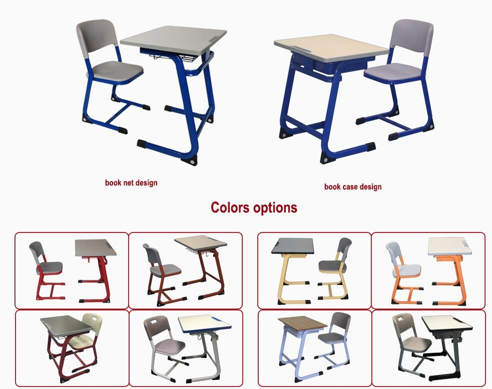 Double seat school furniture MDF injection classroom desk and chair