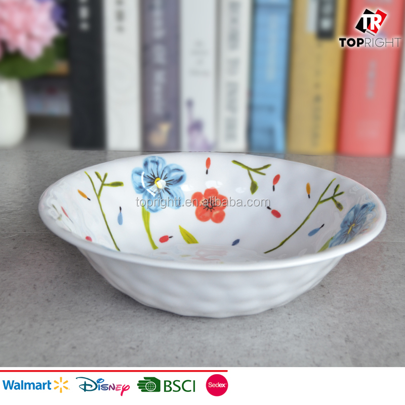Melamine Serving bowl with hammered Texture Flora Design