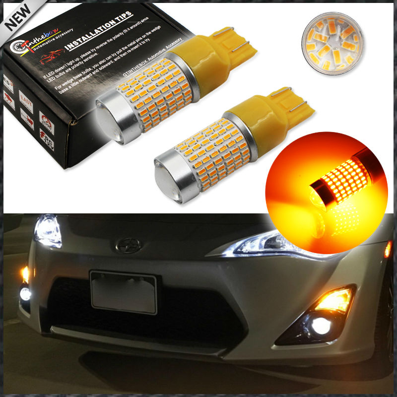 Amber Yellow 144-SMD 7443 7440 T20 7444NA W21W LED Lamp Light Bulb For Front Turn Signal Light,DRL Daytime Running Light
