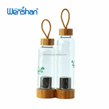 New featured product eco friendly glass water bottle supplier with string bamboo cap