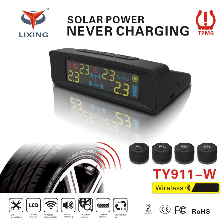 2017 Solar Power Universal Wireless Tire Pressure Monitoring System/TPMS with external sensors for car