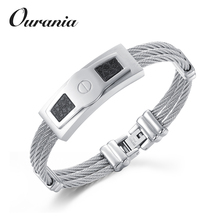 Custom Stainless Steel Jewelry Mens Fashion Handmade Cable Wire Leather Bracelet