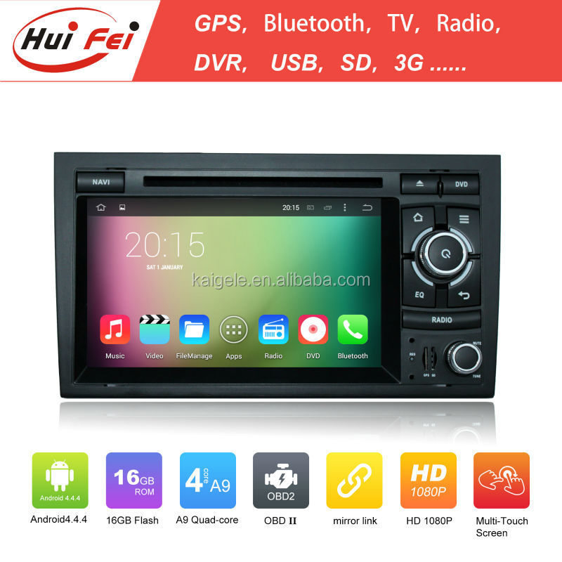 Huifei Quad core A9 16GB android 4.4.4 1024*600 HD car dvd player for Audi A4 ( 2002-2008 )