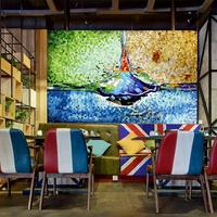 Custom Picture Handmade Glass Mosaic Wall Art Murals Tile For Hotel Restaurant Interior Background Design