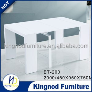 Uk Market White Painting High Gloss MDF Wood Expandable Dining Tables For Resturant