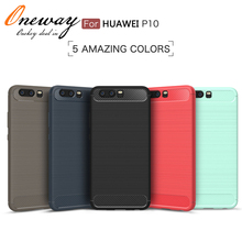 carbon fiber brushed metal design soft tpu phone case cover for huawei p10 lite plus case