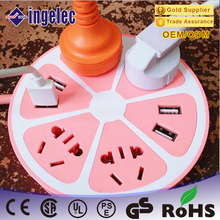 Best Price Tabletop Extension Socket / Power Strip , Hexagon Shape USB Power Socket , Electrical Dual USB Extension Socket