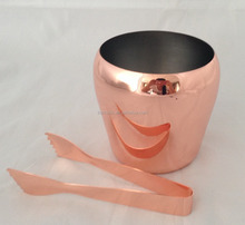 1L Copper plated ice bucket with Tong