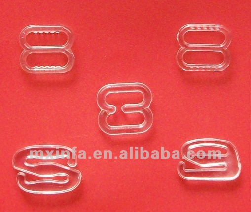 Clear plastic bra strap slider and hook