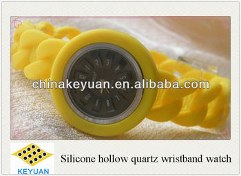 Silicone hollow quartz wristband watch