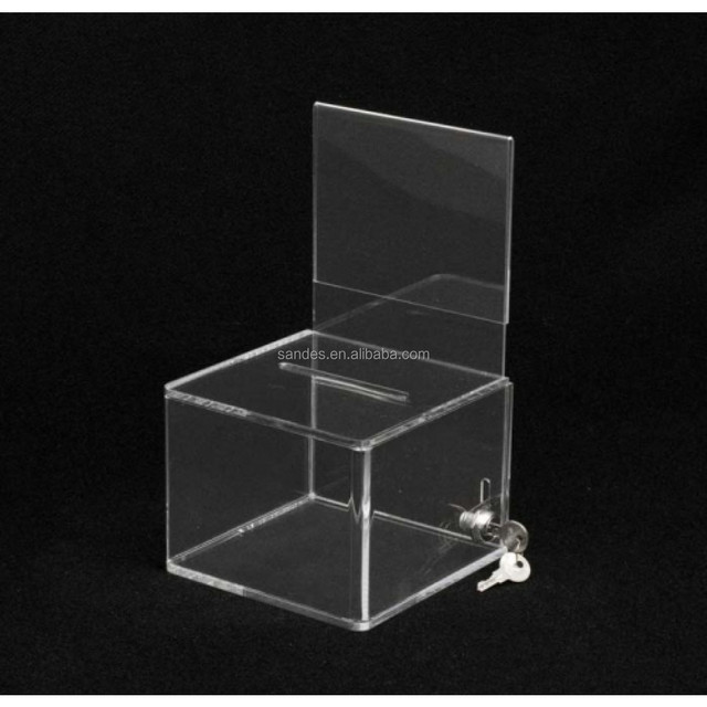 Crystal Design Acrylic Donation Box With Sign Holder Plastic Ballot Box