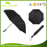 Best selling hot fix rhinestone Colorful 2 fold umbrella
