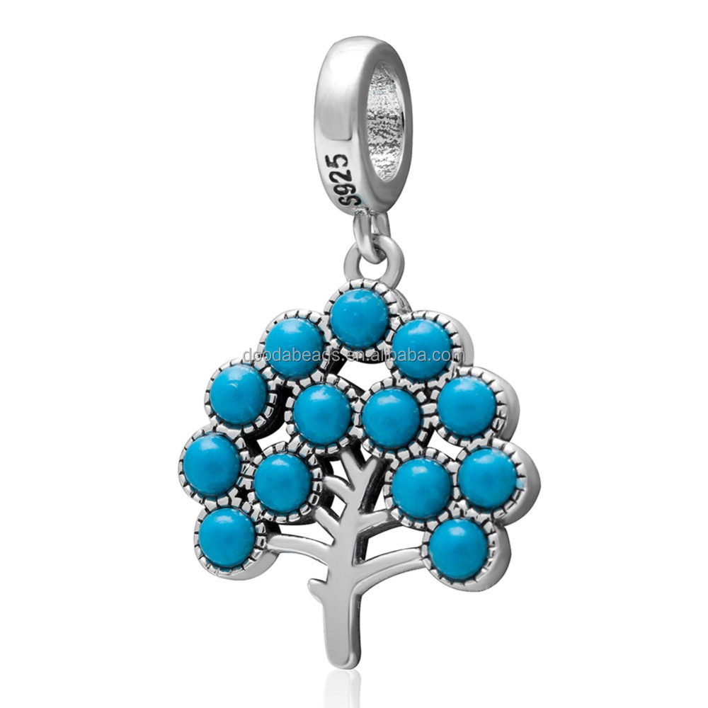 925 Sterling Silver Natural Turquoise Family Tree Charm Pendant for Bracelet Necklace