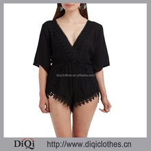 Chic Flared Sleeves Sexy Playsuit;European Brand New Crochet-Trim Surplice Romper