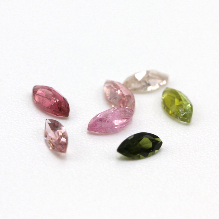 wholesale natural Marquise shape pink green tourmaline loose gemstone
