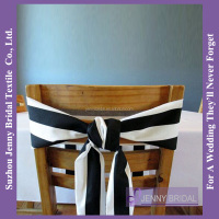 C327A black and white striped polyester fabric chair covers