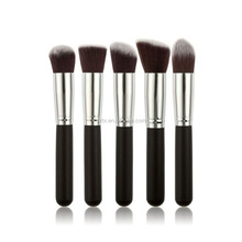 Hoting selling 5 pieces fashion synthetic hair wood handle concealer powder foundation brush makeup brush