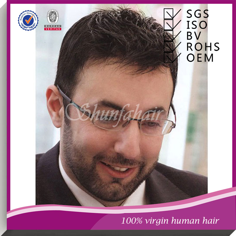 Shunfa hair factory men toupee, Pu skin toupee,100% human virgin hair toupee men