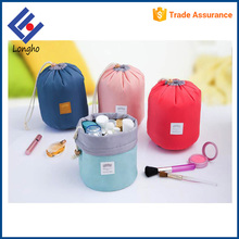Big capacity cylinder travel toiletry bag waterproof, 4 inner elastic cord lightweight soft drawstring round cosmetic bag