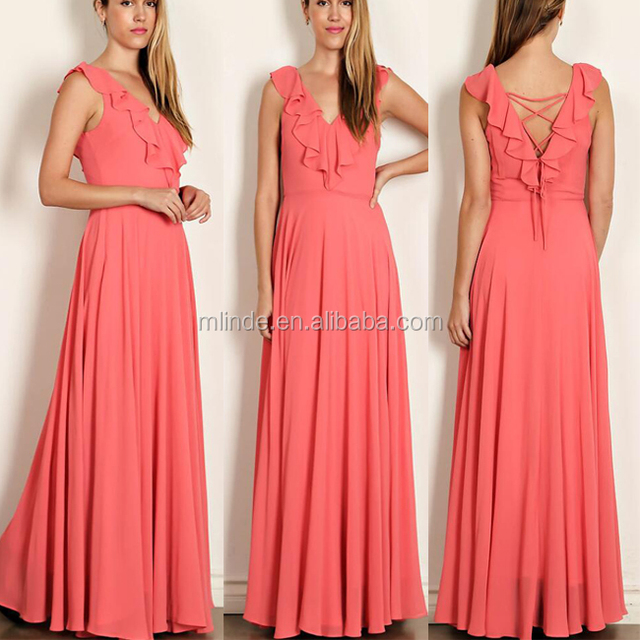 Wedding Party Dress Wholesale Casual Solid Peach Color Sleeveless Elegant Long Maxi Celebration Bridesmaid Dress Guangzhou