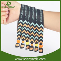 Festival events customized fabric woven cloth wristbands with plastic fasteners