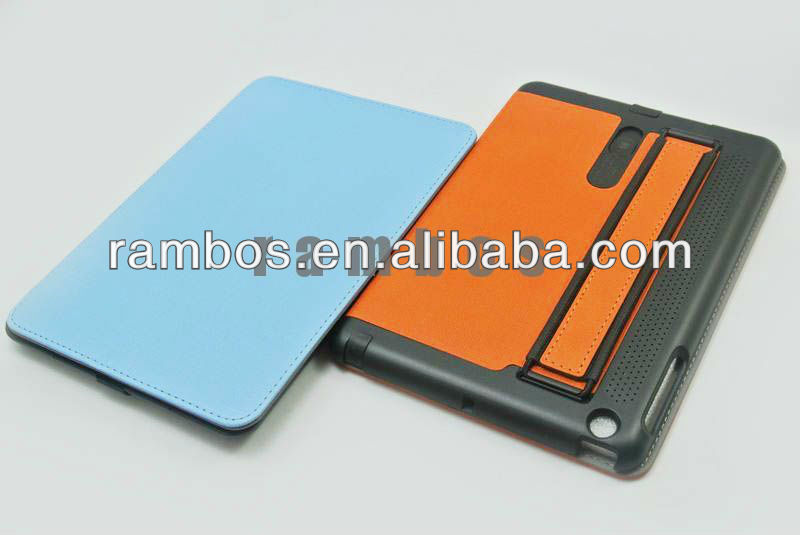 Premium Leather Stand Case Cover with Hand strap for iPad mini