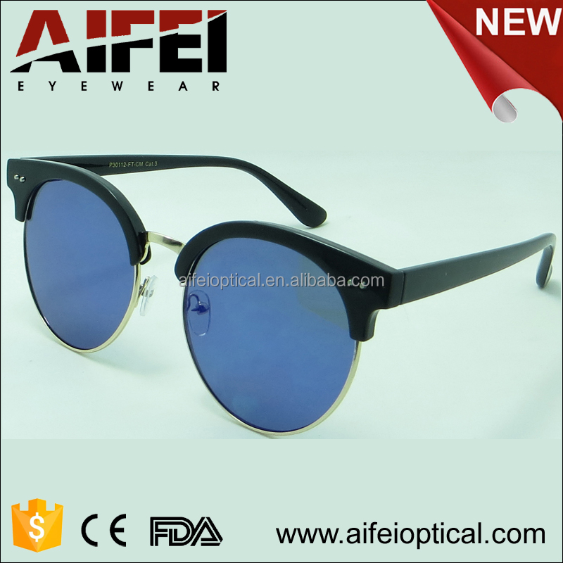 High quality female mixed frame round frame sunglasses withe flat lens