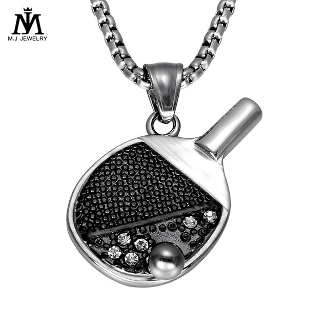 Sports Jewelry Stainless Steel Crystal Ping Pong Paddle Pendant Necklace