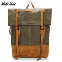Guangzhou Backpack Supplier Waxed Canvas Roll Top Rucksack Bag For College Boy