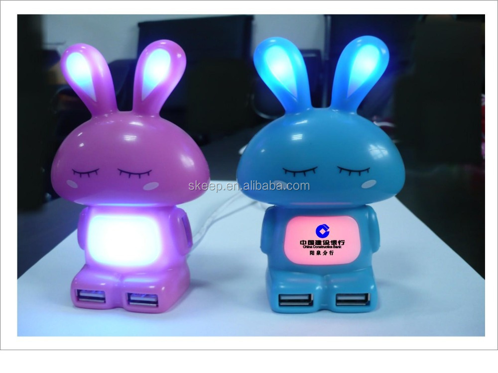 Multi colors lovely cartoon rabbit shaped 4 port usb hub with color changeable led light,gift usb hub(VNHB-86)