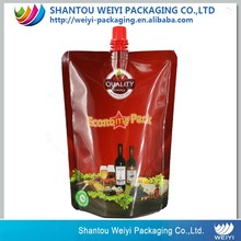 good grade liquid stand up wine pouch bags with spout