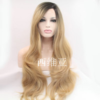 natural long wave wig blonde wig dark roots synthetic lace front wig