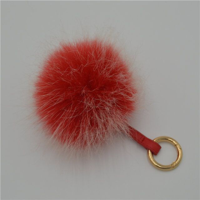 Hebei two tone colors fur ball imitation fur accessory fake fur keychain pompom