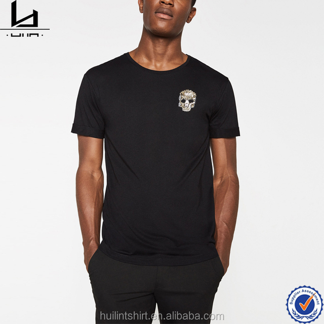 New fashion trend design hot sale men's bamboo embroidered sequin detail t shirt