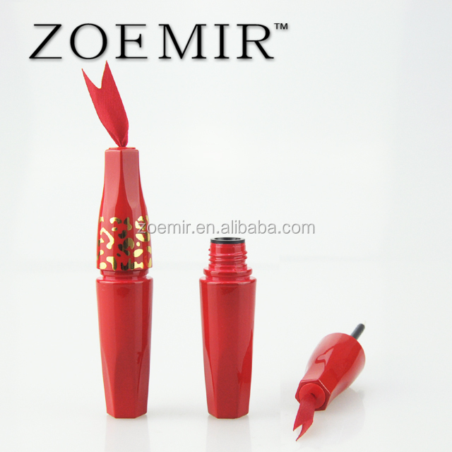 Hot red plastic eyeliner container customized empty sexy red eyeliner liquid tube for girl