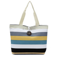 fashion cotton canvas tote bags/ cotton pencil bag/ stripe canvas bag