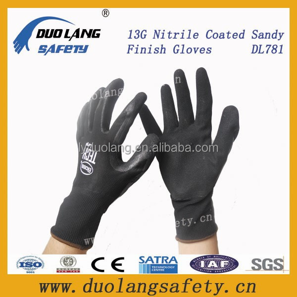 labor protection black cotton nitrile gloves double nitrile working gloves