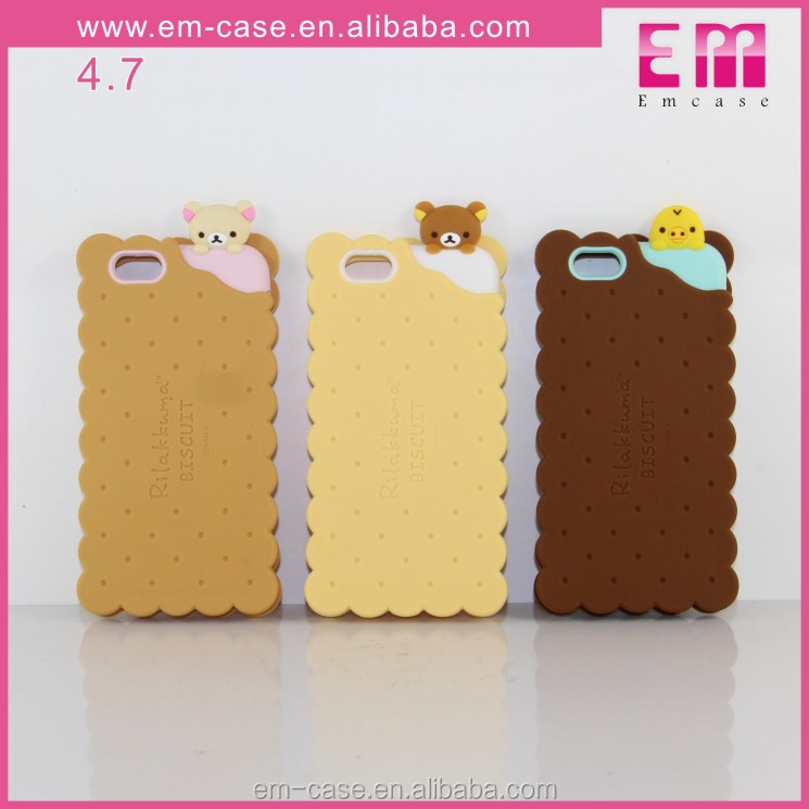 low price china mobile phone Bear Biscuits silicion case for iphone 6/6s