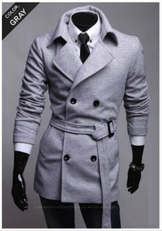New arrival promotional sales new winter Slim Belt simple double-breasted woolcoat, Korean men's winter long coat