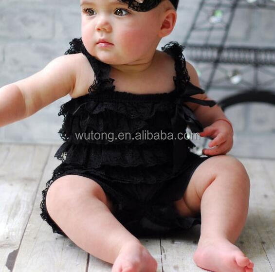 Cute baby black girl lace petti romper Jumpsuit Infant children clothes cheap kids ruffle clothing
