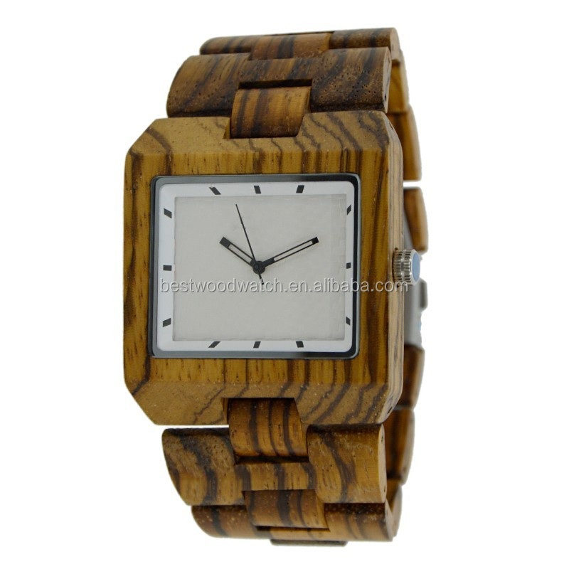 Mens watches wood dial clock square zebra color W016A