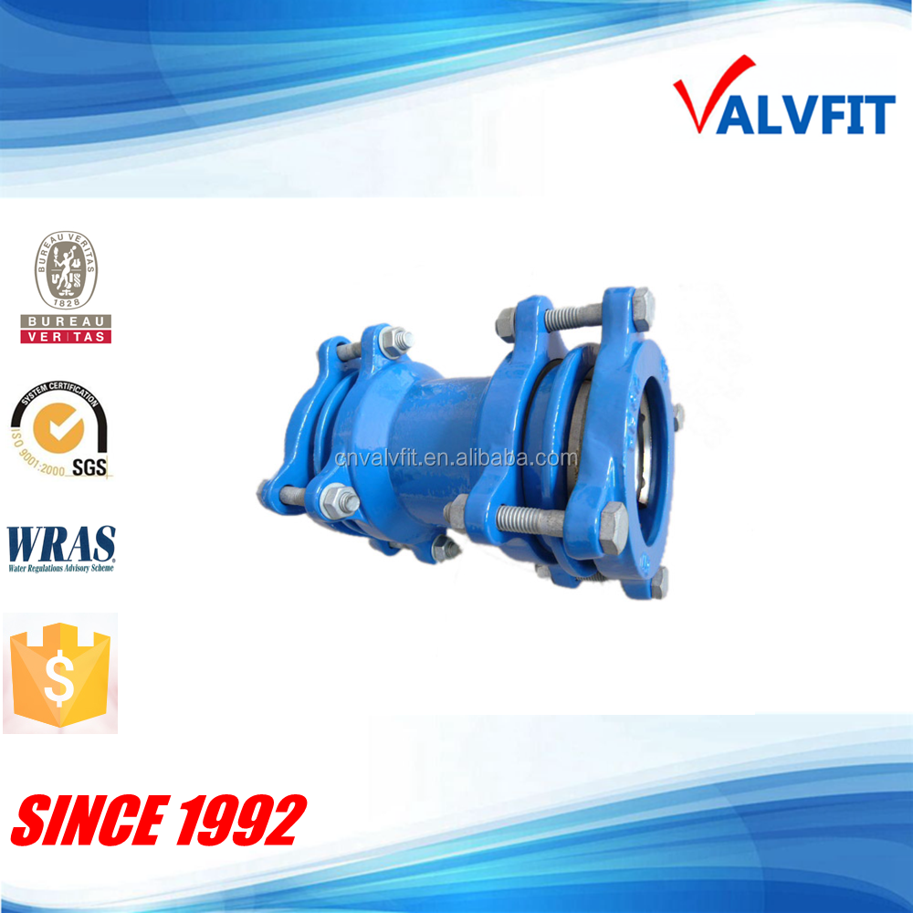 Ductile cast iron restrained coupling for HDPE pipe