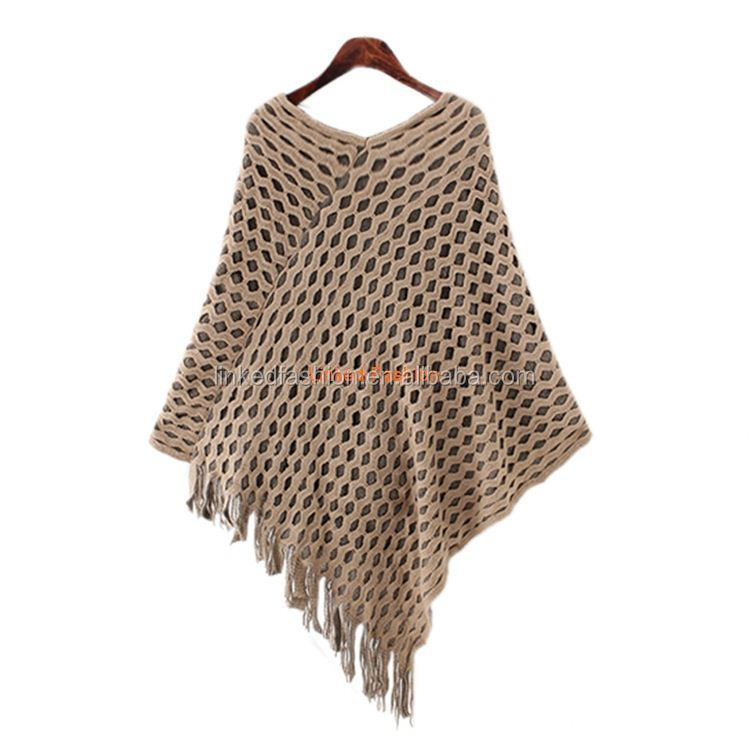 wholesale new arrival women fashion design printed wool poncho with sleeve fringe detail