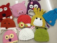 Knitted baby hats winter beanie animal patterns